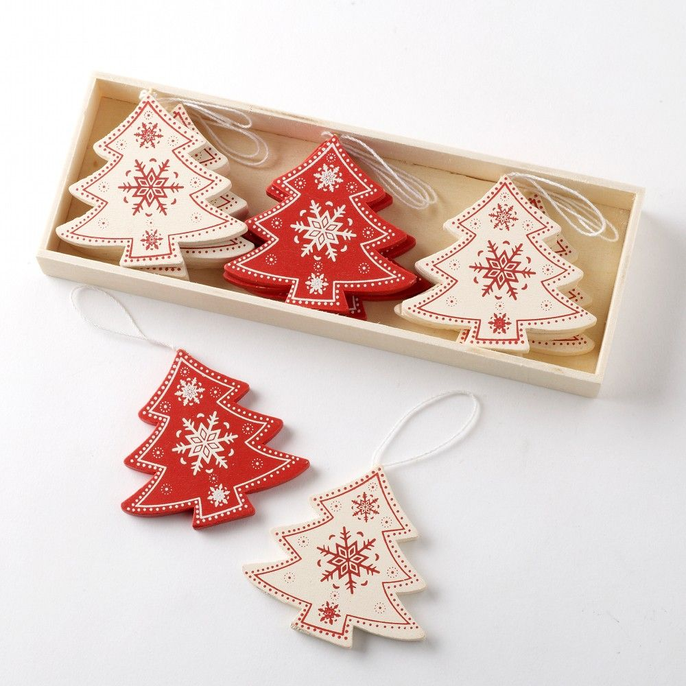 Raditional Vintage Style Red Cream Wooden Tree Shapes Christmas Tree Decorations
