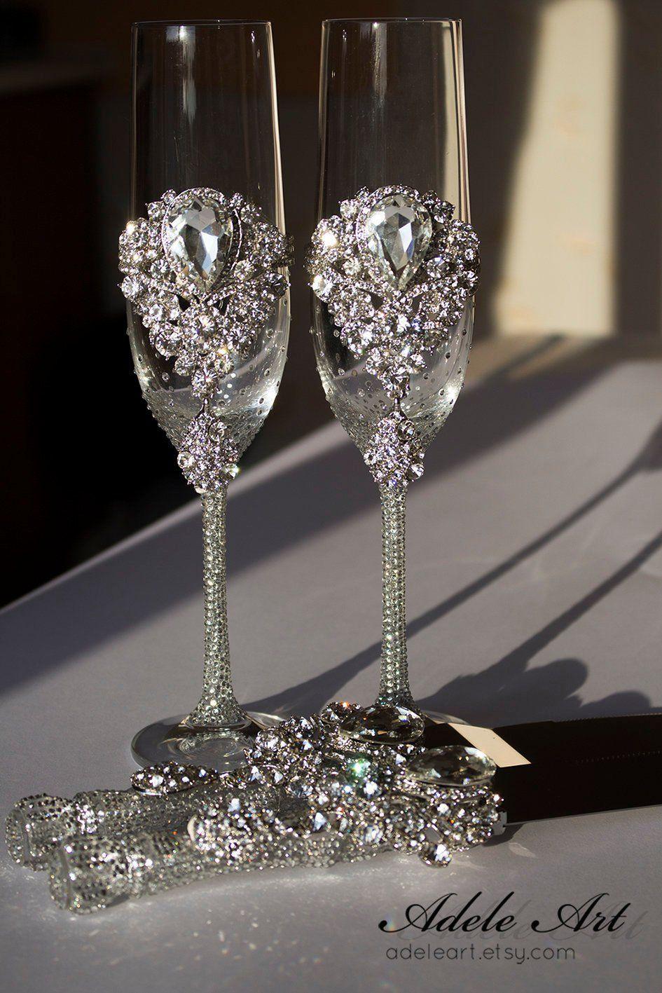 Crystal Wedding, Crystal clear Rhinestones Wedding Flutes