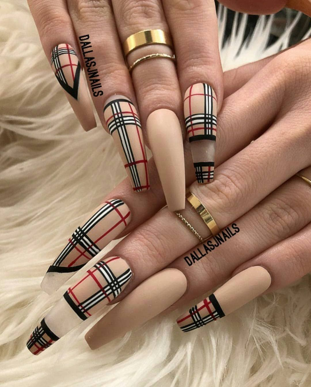Love These Dallasalexiaxo Follow Classylavee Burberry Nails Gucci Nails Solid Color Nails