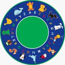 """CPR400 - Abc Animals Round Small by Cutiebeauty-le. $250.00. The animal kingdom is represented by friendly critters of every description. Children can learn identification as well as the alphabet with this colorful carpet.   80""""x10""""x10"""""""