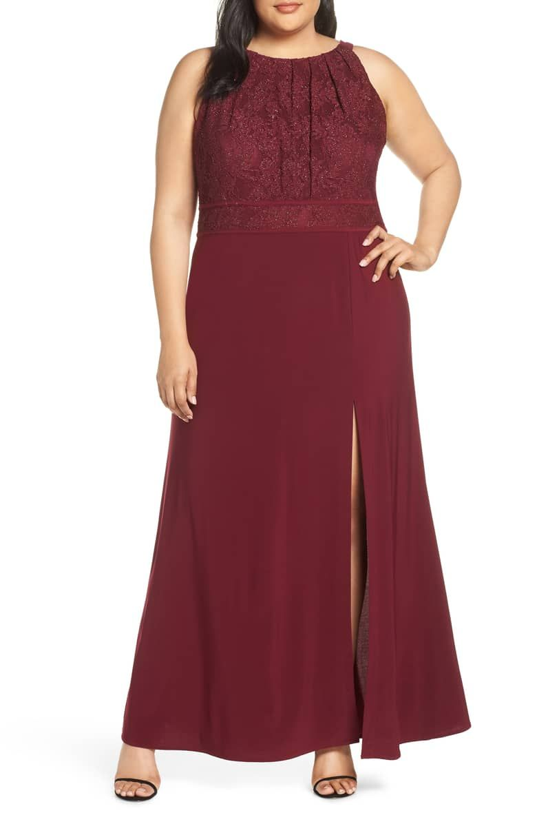Morgan and Co. Pleat Lace Bodice Evening Dress (Plus Size ...
