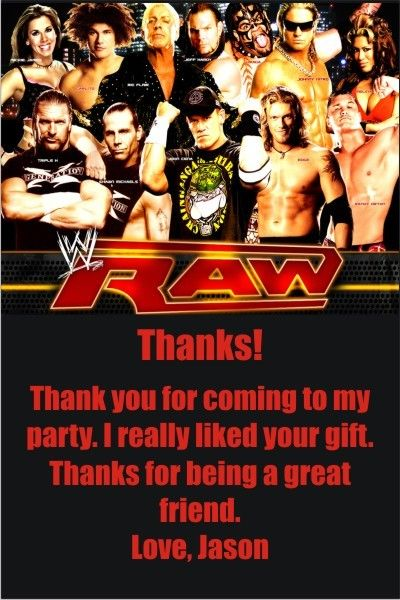 Wwe raw thank you cards wwe raw thank you cardsis thank you card this thank you card matches our wwe raw birthday party invitations its the perfect way to thank guest for coming to your party filmwisefo