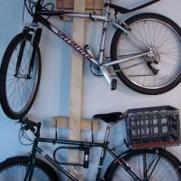 wall-mount rack for two bikes -- a must-have, if we get the new place