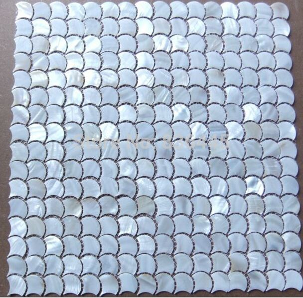 Fish scale fan shape shell mosaic mother of pearl tiles for Fish scale tiles bathroom