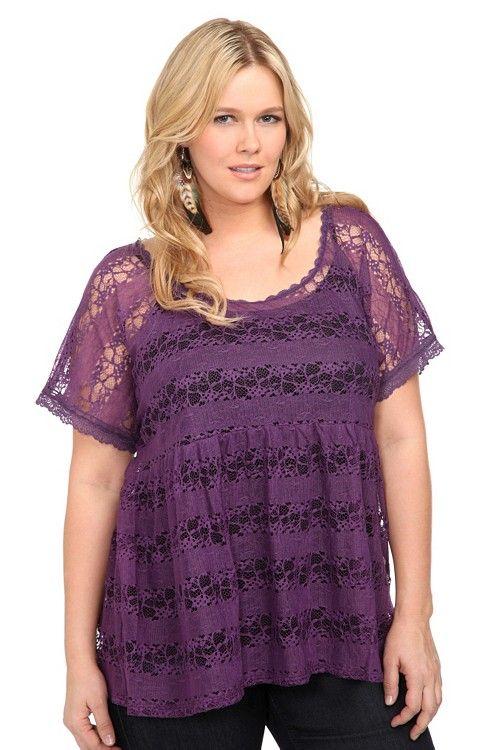 46598e6ce2f0b Torrid Purple mesh Lace Babydoll Top - Plus size | Fashion | Fashion ...