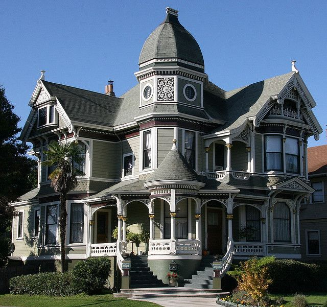1893 Queen Anne designed by Charles Shaner (possibly from Barber plans) and built by David S. Brehaut (who was the original owner) for a cost of $4000 - This spectacular Victorian Painted Lady has been featured in dozens of books, calendars and paintings - Alameda, CA