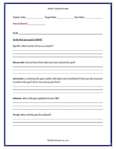 Smart Goals Worksheet  SmartGoalWorksheetJpg  Iep Information