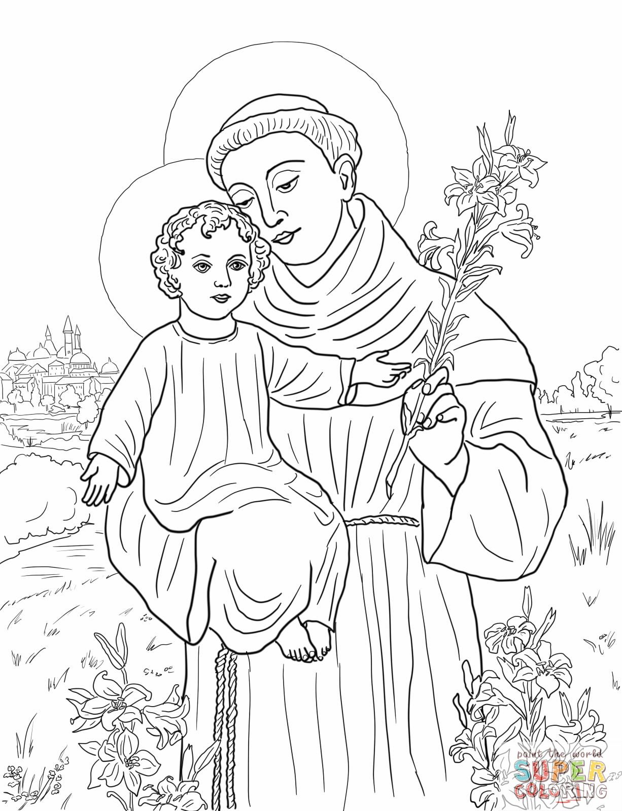st.-anthony-of-padua-coloring-page.jpg 1,226×1,600 pixels ...