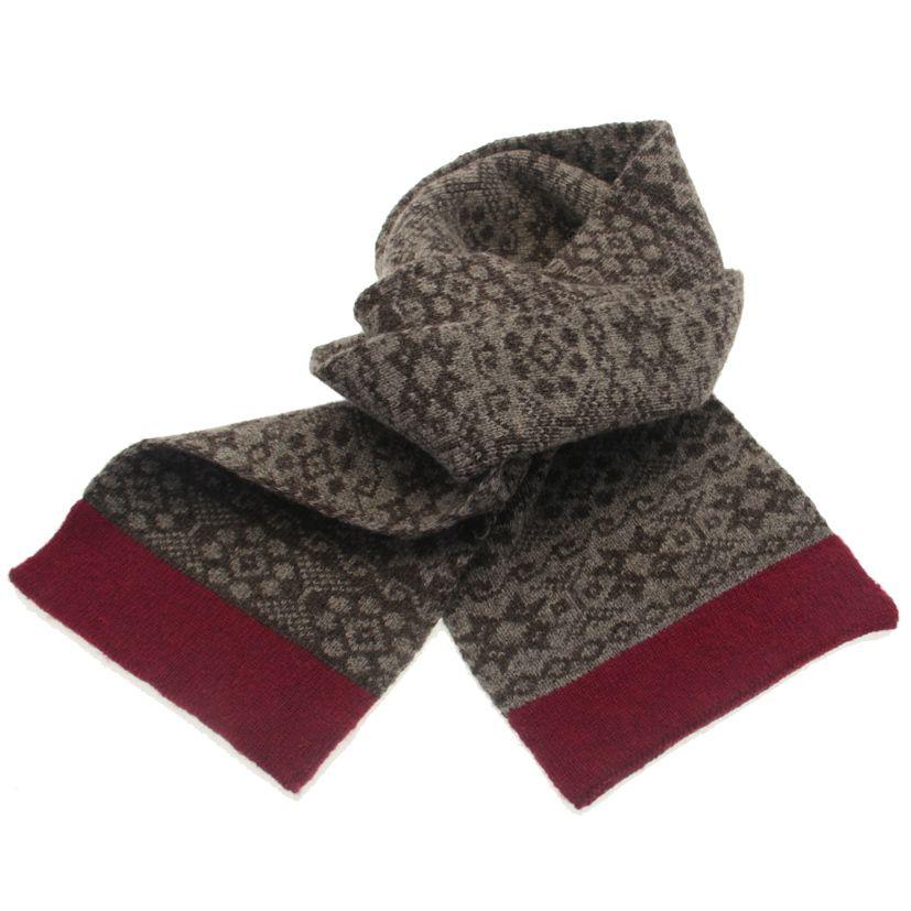 fair isle scarf | made in shetland | wool | grey | pink | Victoria ...