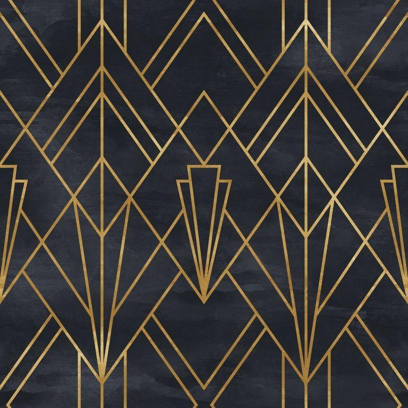 Removable Peel N Stick Wallpaper Self Adhesive Wall Mural Geometric Gold Lines Pattern Nursery Baby S Room Artdeco Muster Jugendstil Ornamente Geometrisch