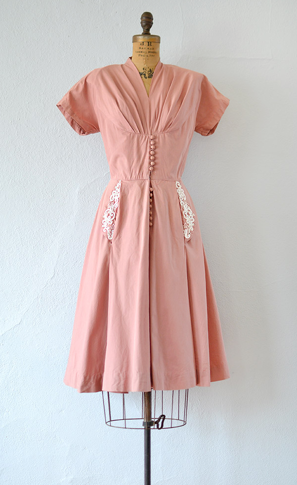Vintage late 40s early 1950s dusty rose pink cotton dress | Gustos ...