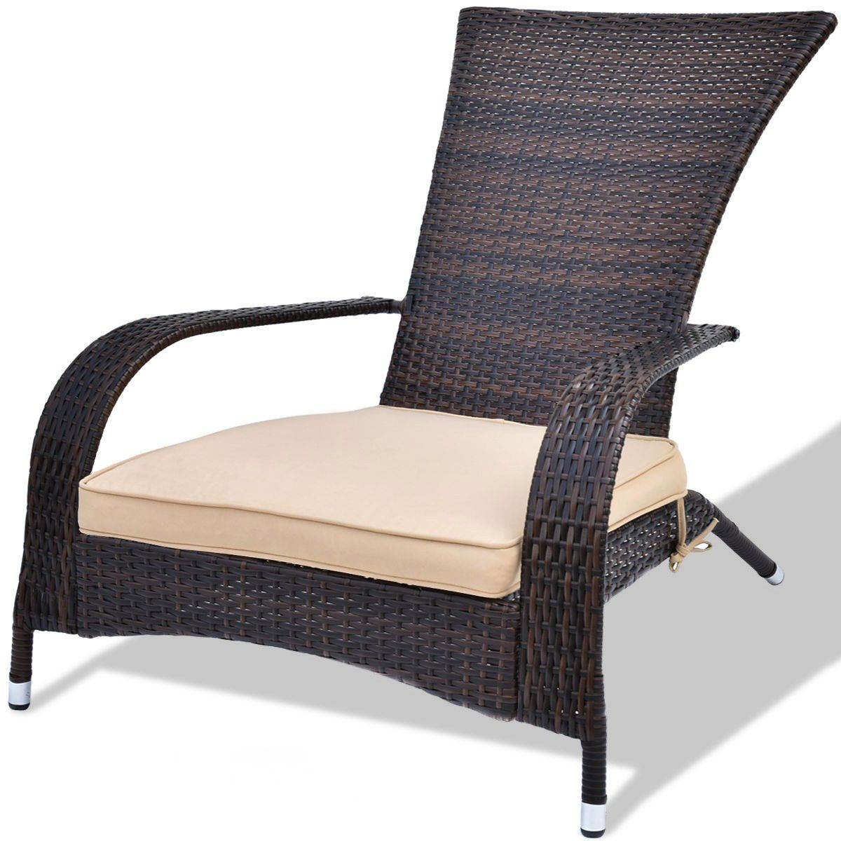 On Sale 85 Delivered Outdoor Rattan Wicker Adirondack Chair W Seat Cushion Weathered Furniture Outdoor Chairs Adirondack Chairs Patio