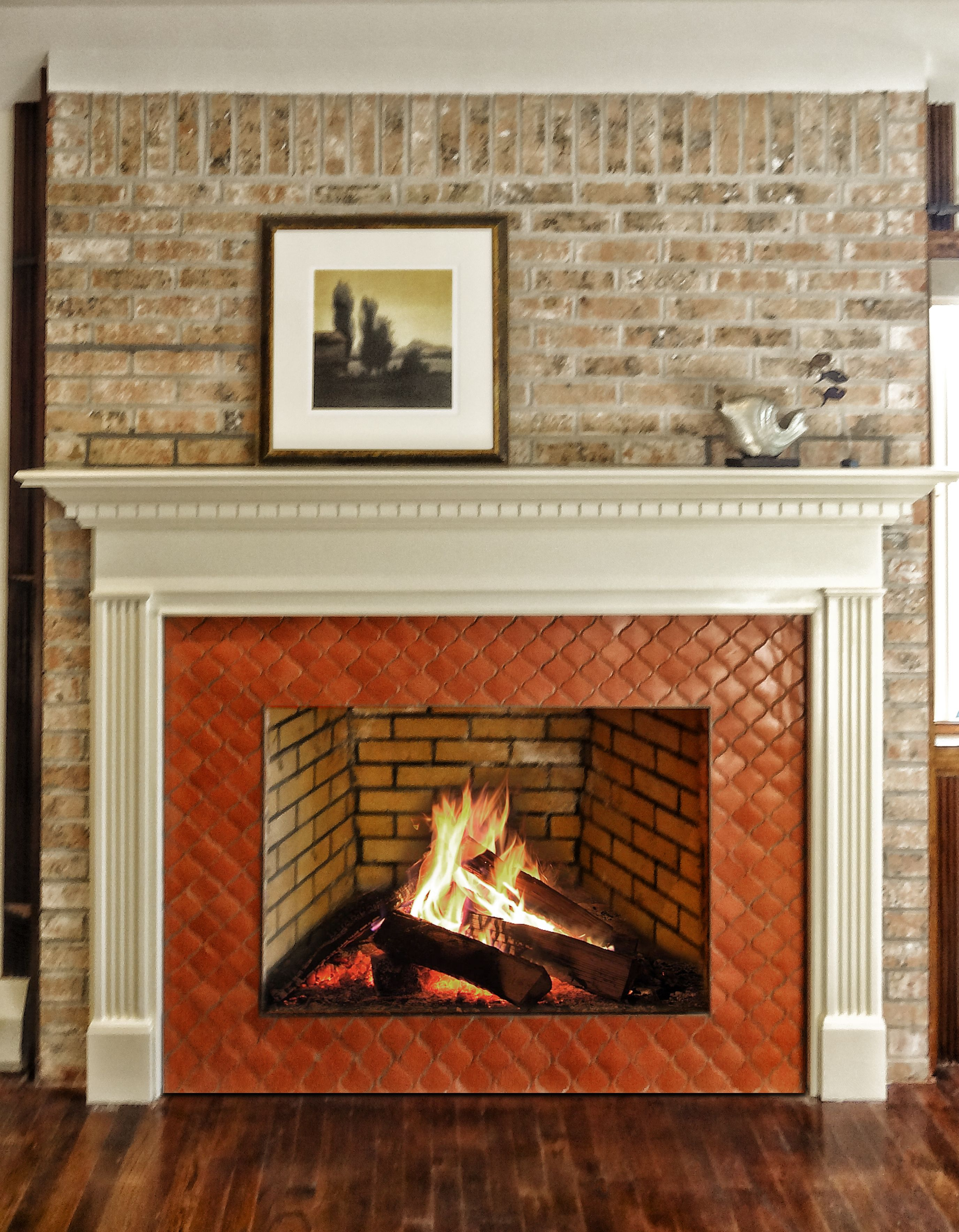 New Wood Mantel And Arabesque Tile Complementing The Weathered