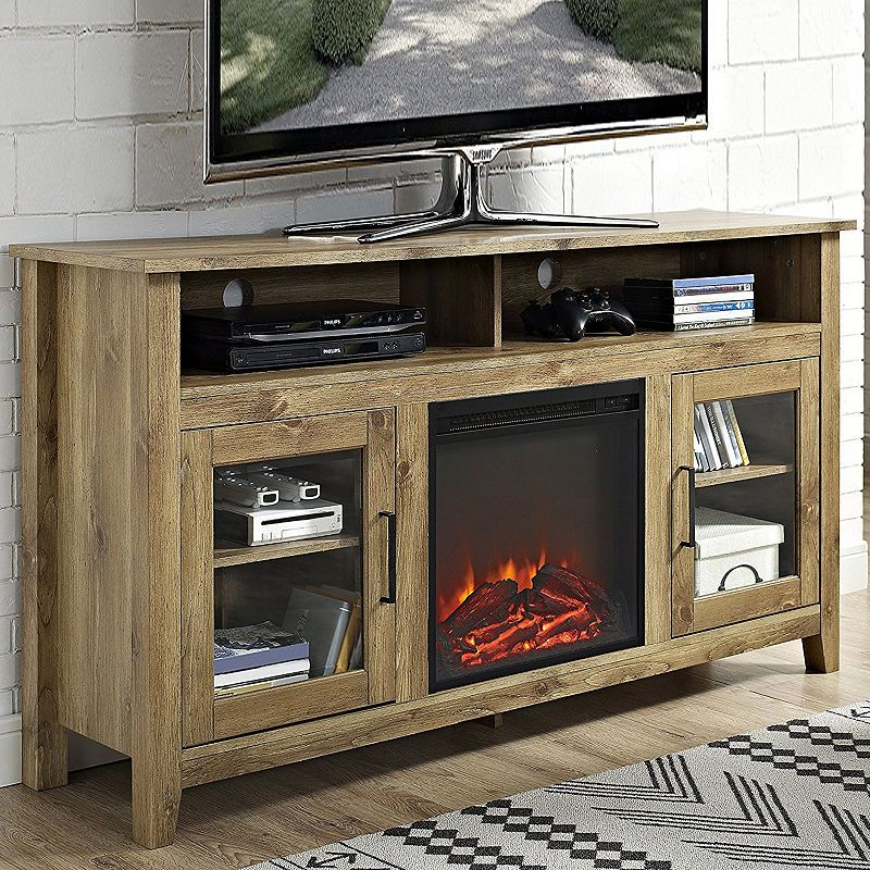 58 Wood Highboy Electric Fireplace Media Console Tv Stand