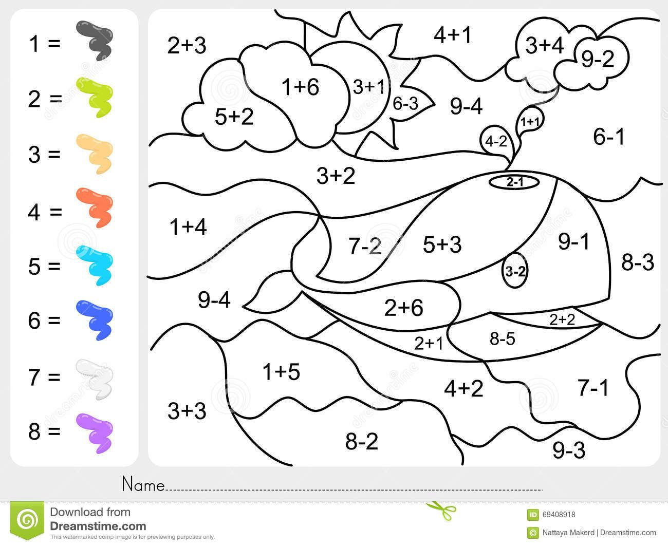 Color By Number Worksheets With Addition With Paint Color