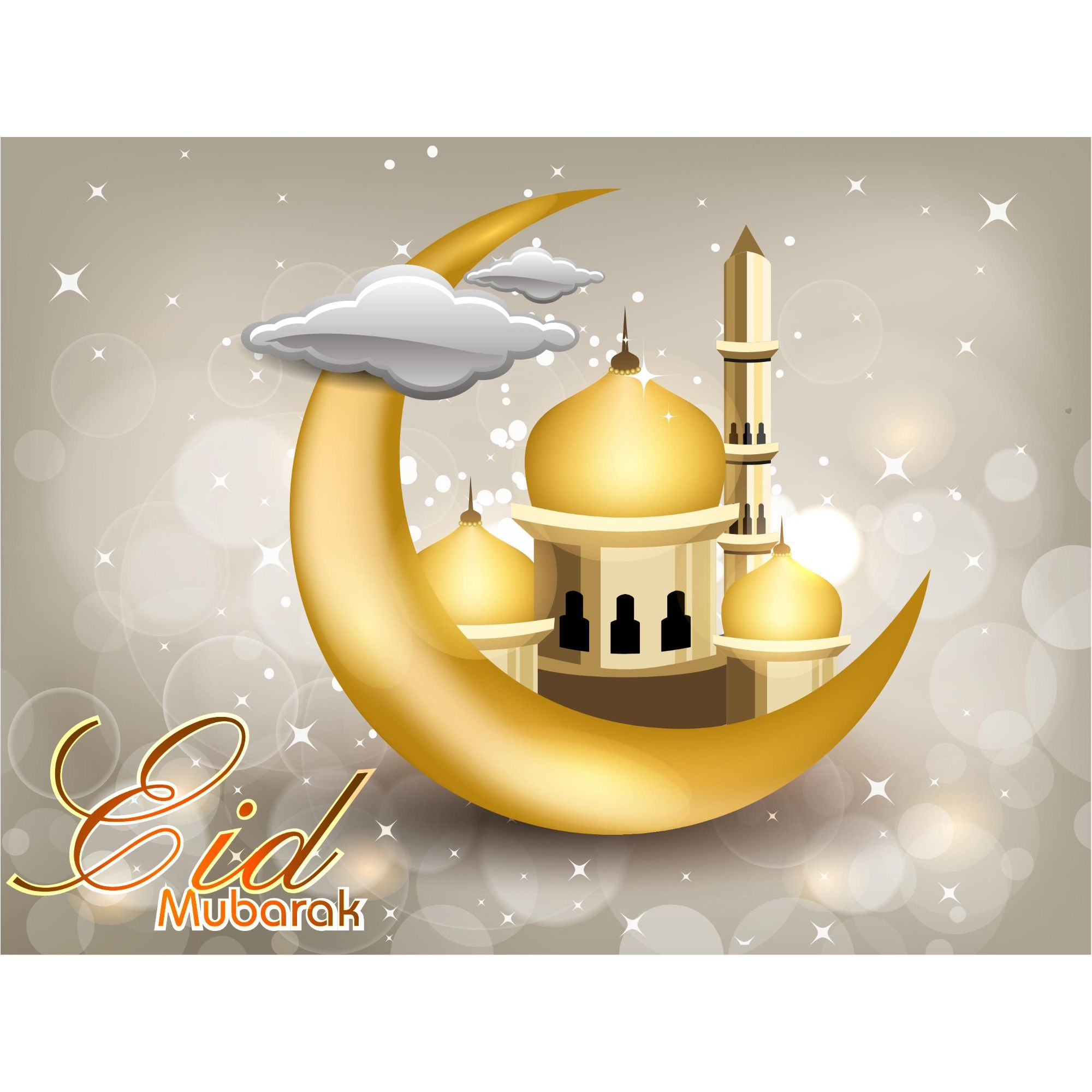 Eid Mubarak Golden Greeting Card Design Vector With Images Eid