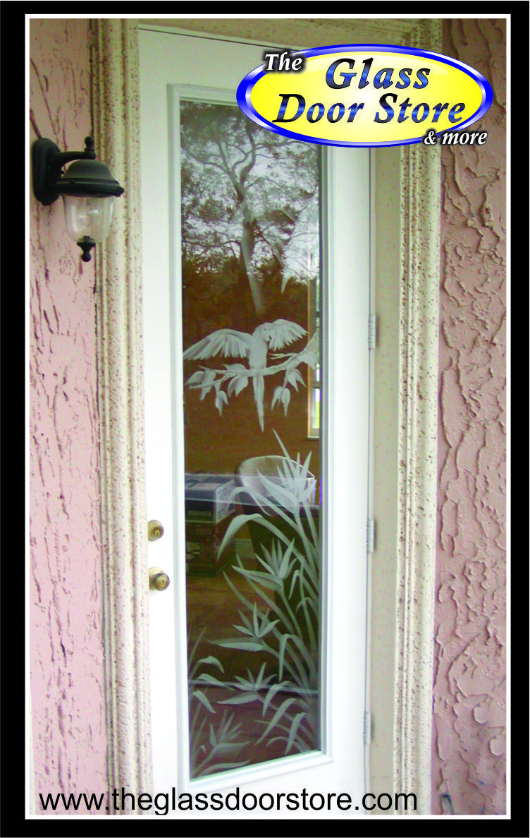 Etched Parrot On Branch Sandblasted On Glass Door For Tampa Customer