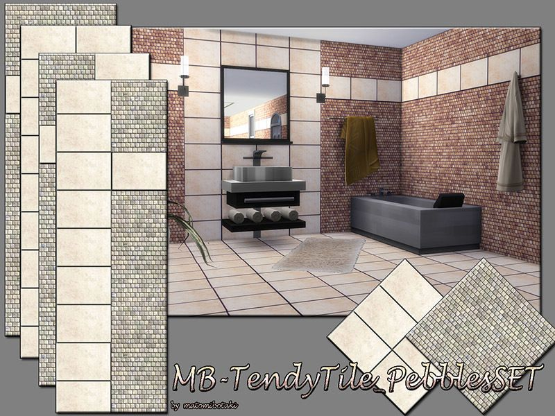 MB-TrendyTile_PebbleSET, elegant tile wall and floor set, with small ...
