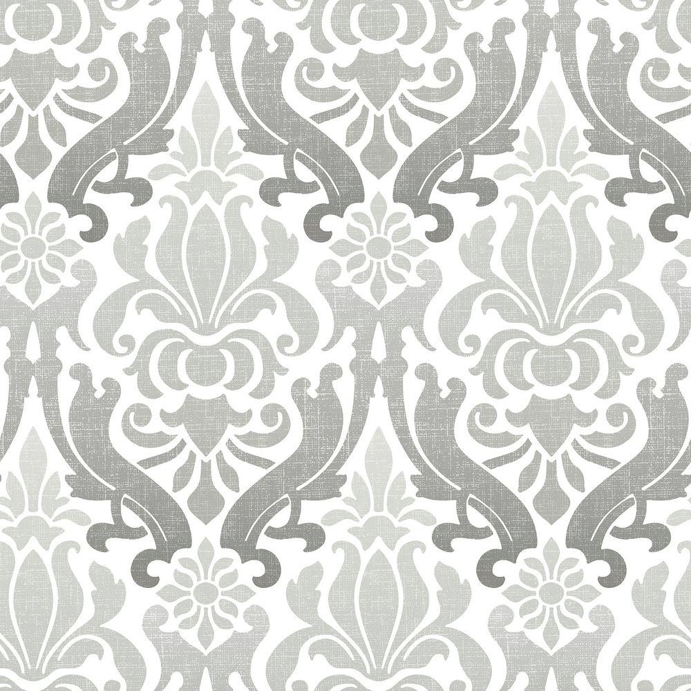 Nuwallpaper Grey Nouveau Damask Peel And Stick Wallpaper Nu1827 The Home Depot Nuwallpaper Damask Wallpaper Silver Wallpaper