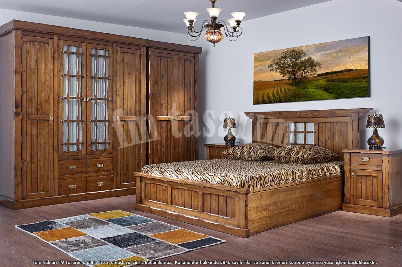 Country Efes Ahşap Masif Yatak Odası