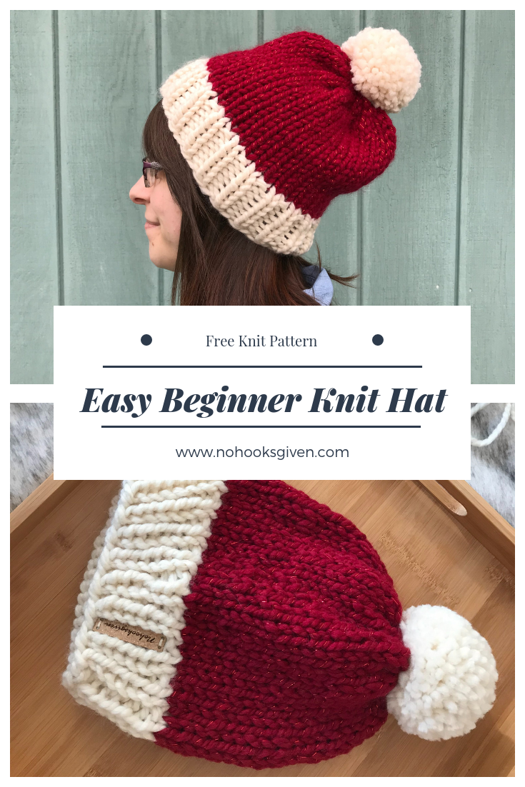 Easy Beginner Knit Hat Pattern   Knitting Patterns   Knitted hats