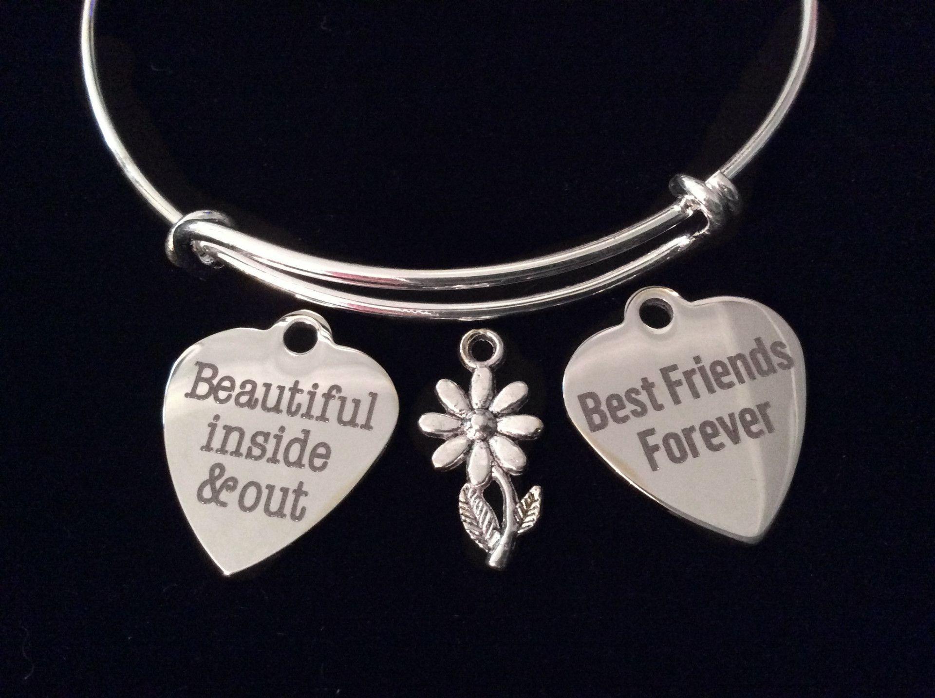 62040e5e60c67 Beautiful Best Friend Silver Expandable Charm Bracelet Adjustable ...