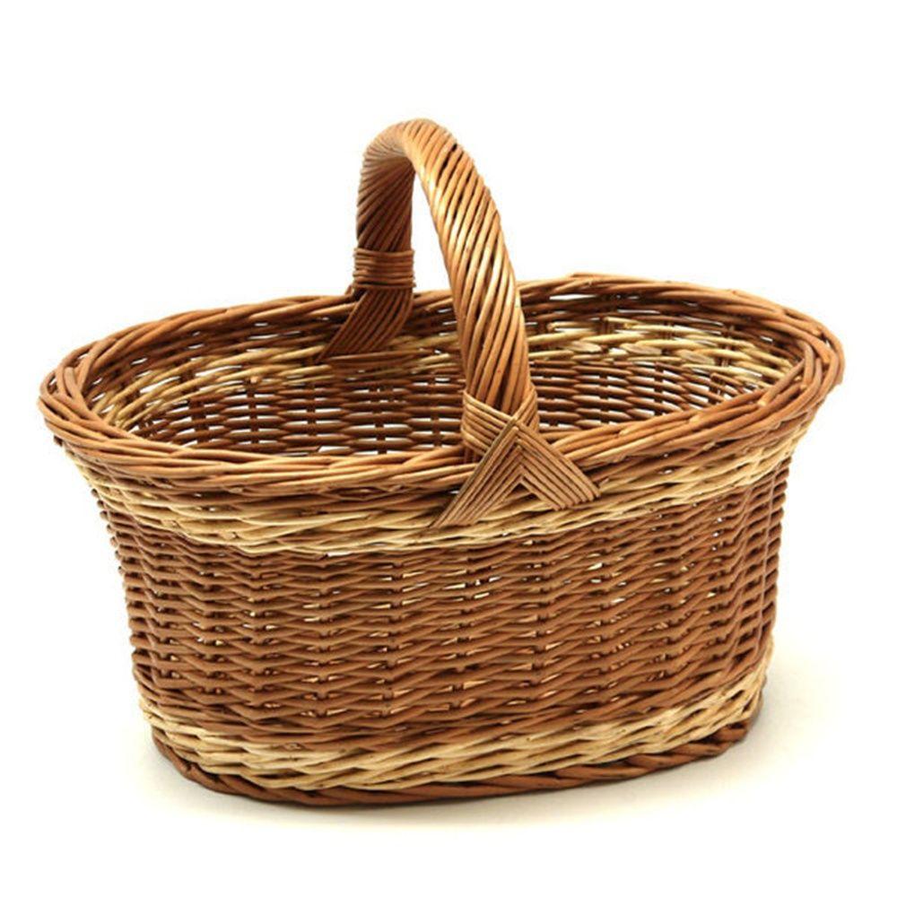 large traditional wicker shopping basket baskets. Black Bedroom Furniture Sets. Home Design Ideas
