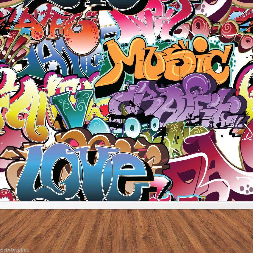 Retro graffiti artistic urban background wall mural for Classic mural wallpaper