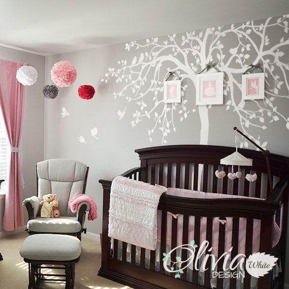 WHITE Nursery Tree Wall Decal Huge Kids Room Decor Large Mural White Whimsical Sticker