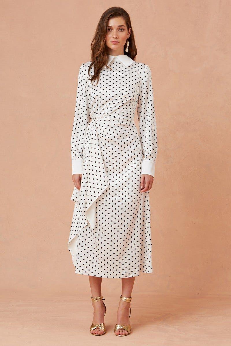 Foolish Long Sleeve Midi Dress Porcelain W Black Polka Dot Long Sleeve Midi Dress Long Sleeve Dress Classy Dress [ 1200 x 800 Pixel ]