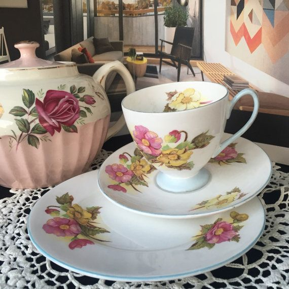 Vintage Shelley Trio English teacup with Flowers