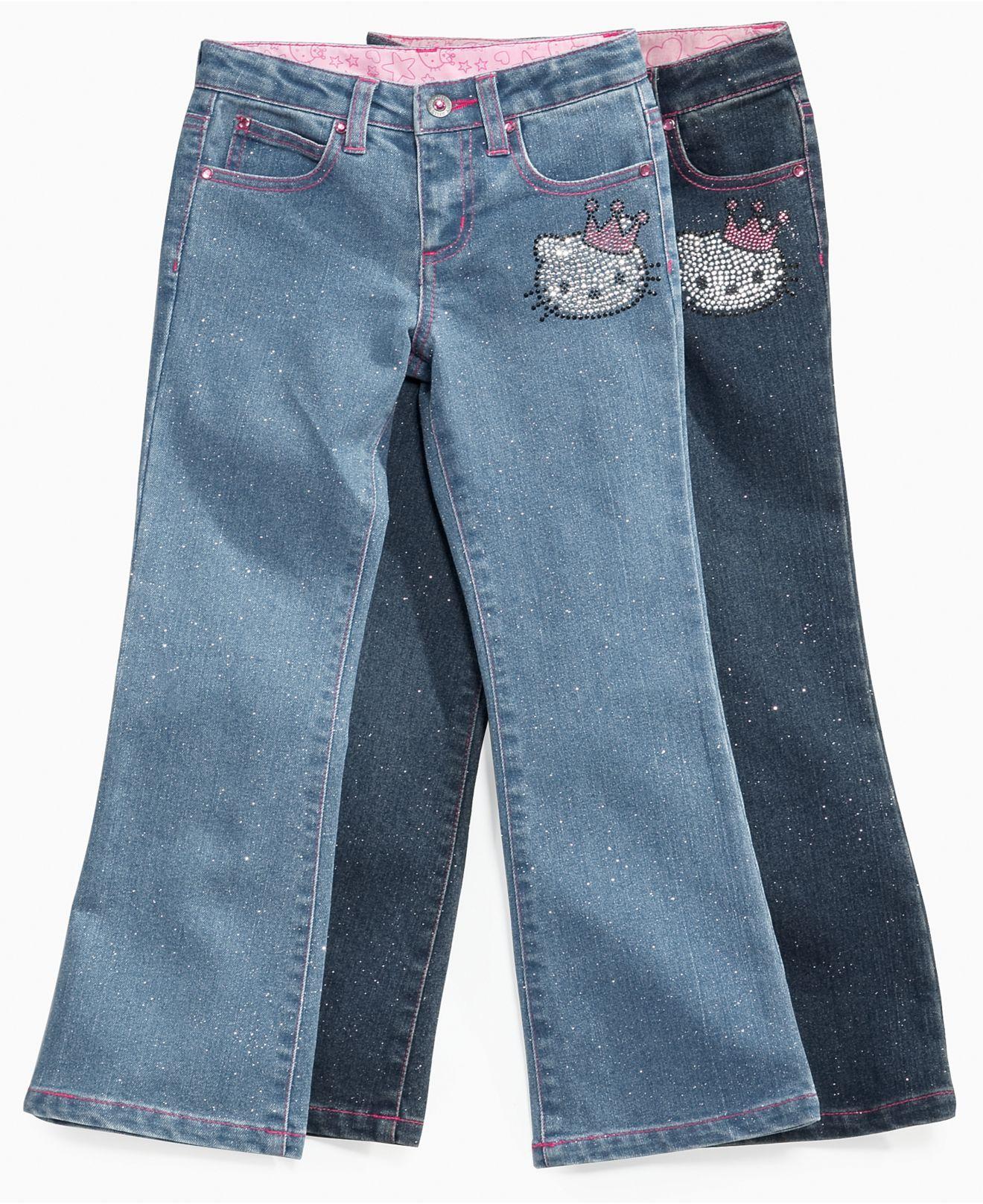 65a628809 Hello Kitty Kids Jeans, Little Girls Crown Denim Jeans | Kid ...