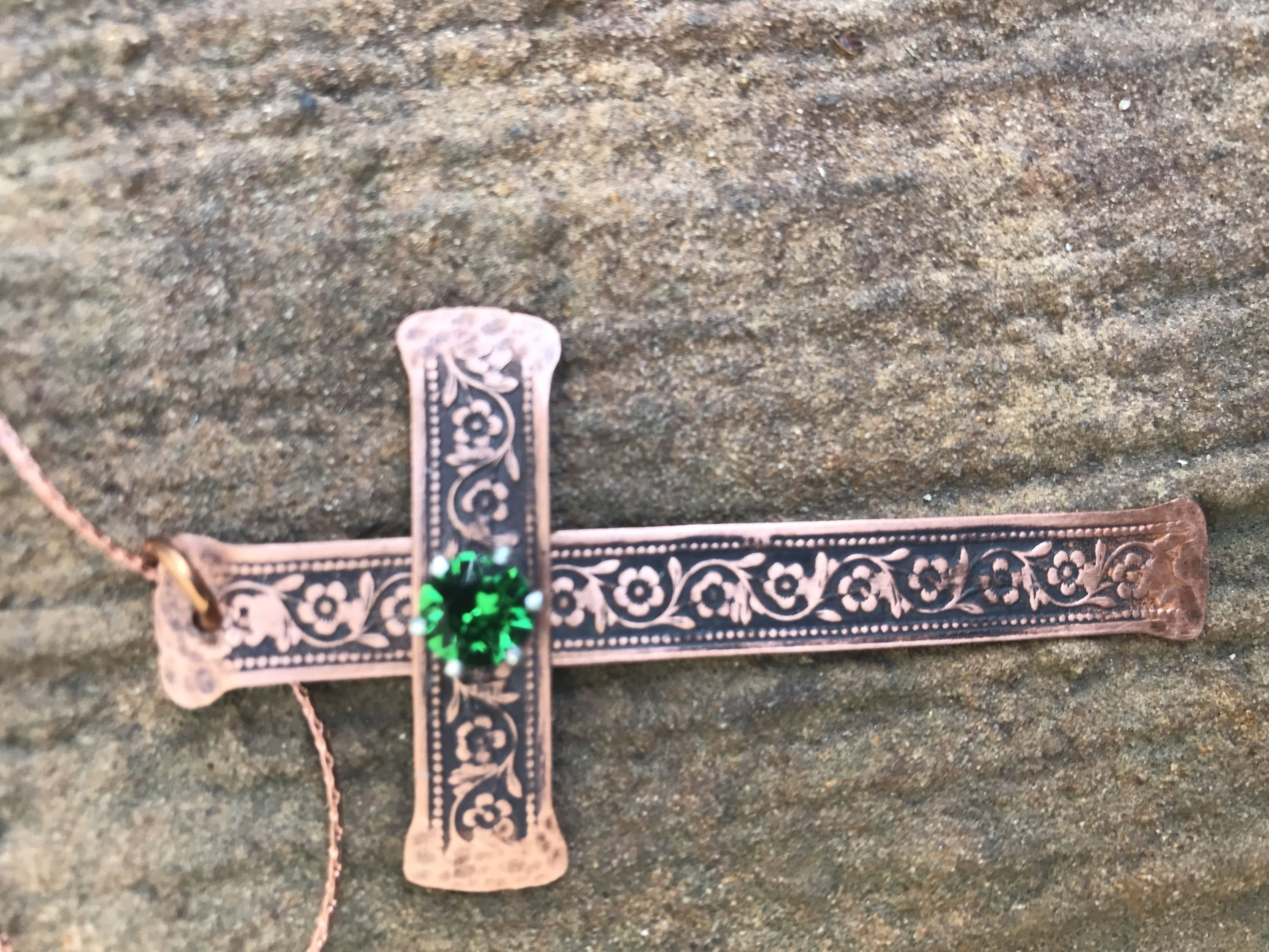 Floral Pattern Flat Wire Copper Large Cross with Green Swarovski ...