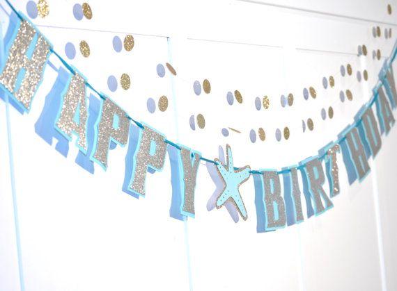 Ocean Happy Birthday Banner Beach Birthday Gold Glitter By Devany