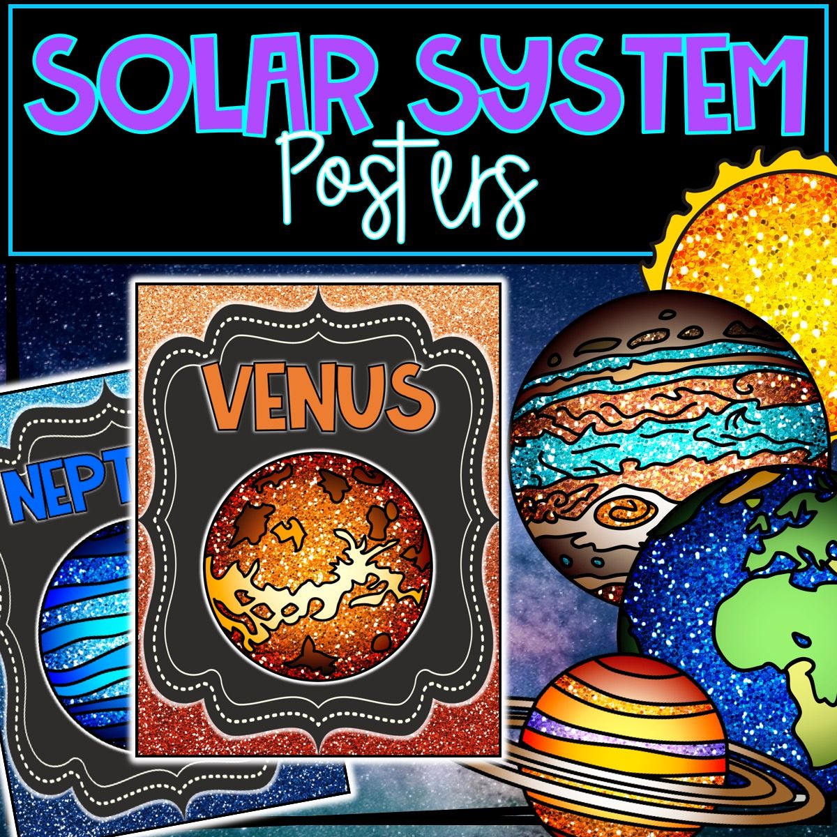 Solar System Glitter Posters
