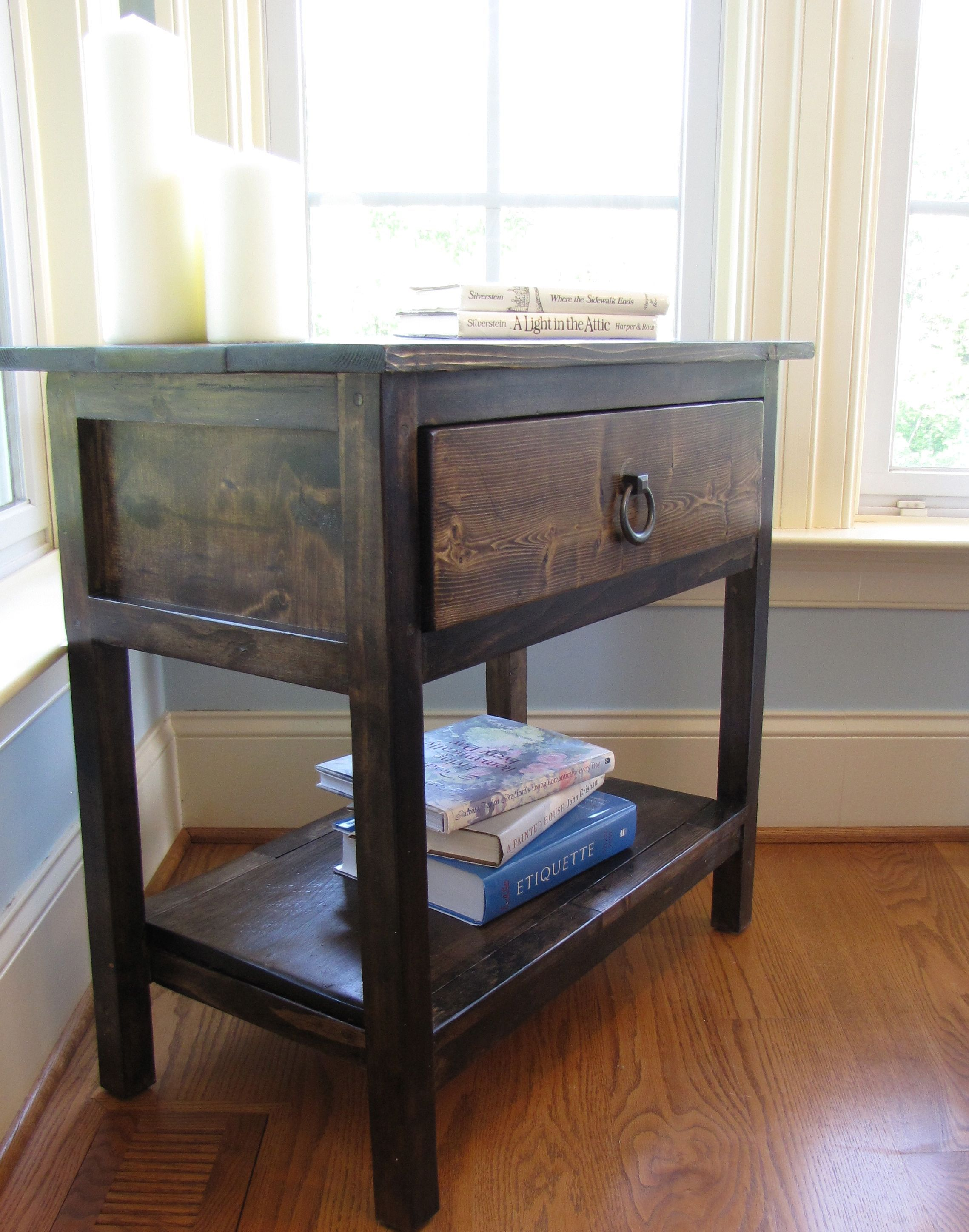 built with the farmhouse bedside table plans from Ana White