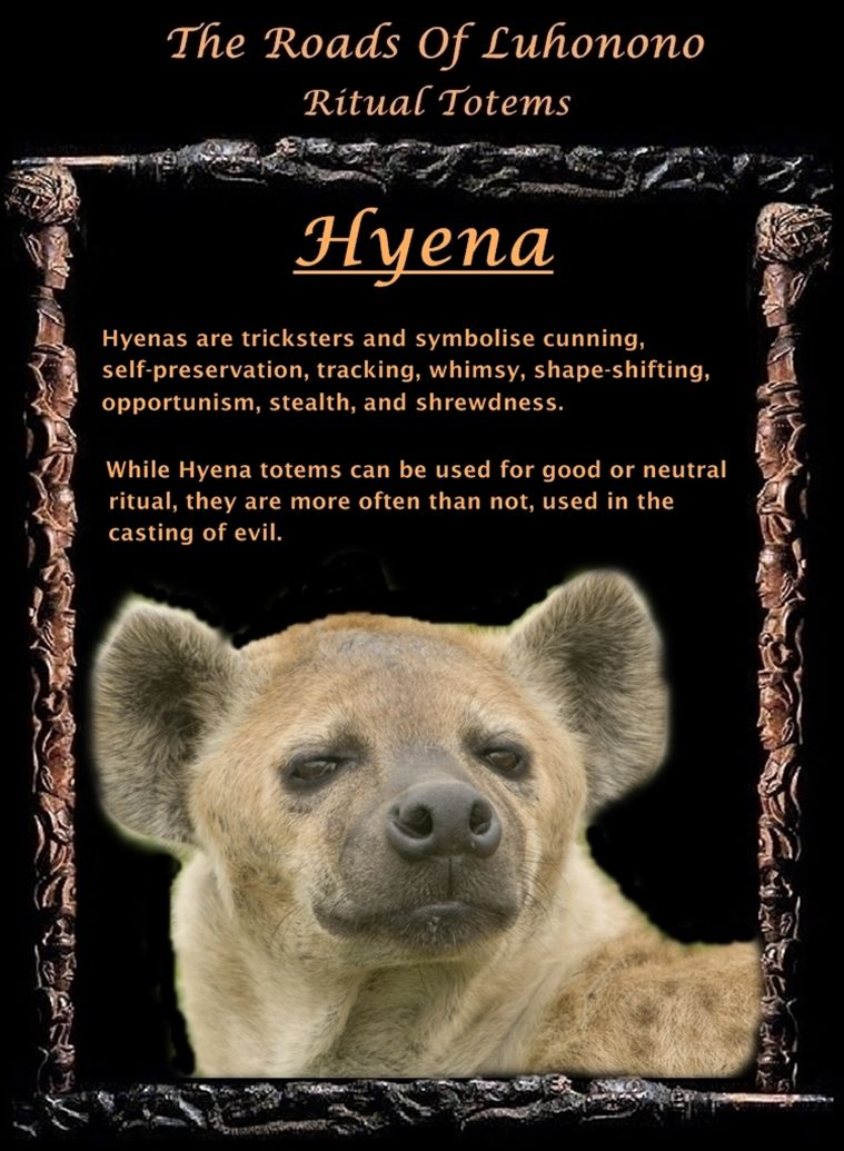 Ic Animal Tarot Cards: Luhonono Hyena Totem. Appeared In Transition Space Stark
