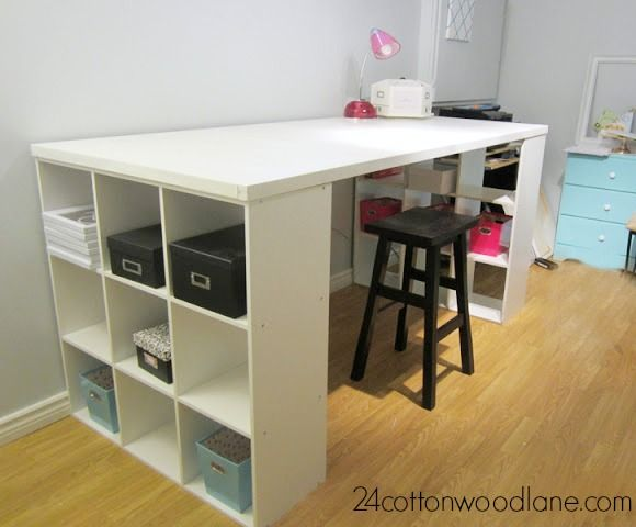 Diy Craft Room Table Craft Room Desk Cube Shelving Unit