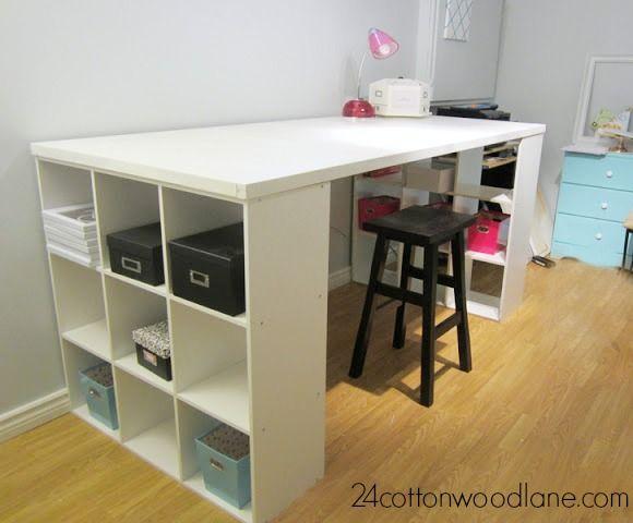 Craft Room Desk: Craft Room Desk, Cube Shelving Unit