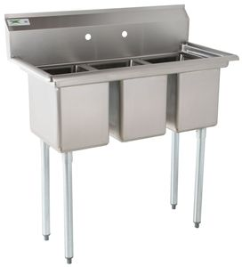 Regency 39 16 Gauge Stainless Steel Three Compartment Commercial Sink With Galvanized Steel Legs And Without Drainboards 10 X 14 X 12 Bowls Commercial Sink Sink Industrial Decor Kitchen