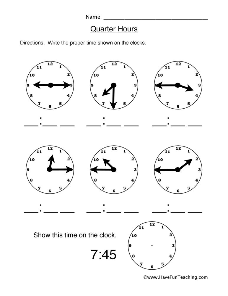 count quarter hours worksheet practicum telling time activities worksheets have fun teaching. Black Bedroom Furniture Sets. Home Design Ideas