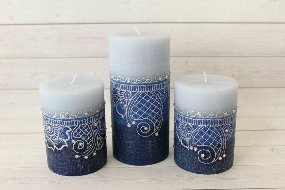 Henna Candle Set Henna Candle Gift Set Blue Henna Candles Blue