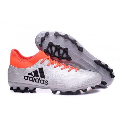 ufficiale scarpe da calcio adidas x 16.3 ag uomo argento nero arancione