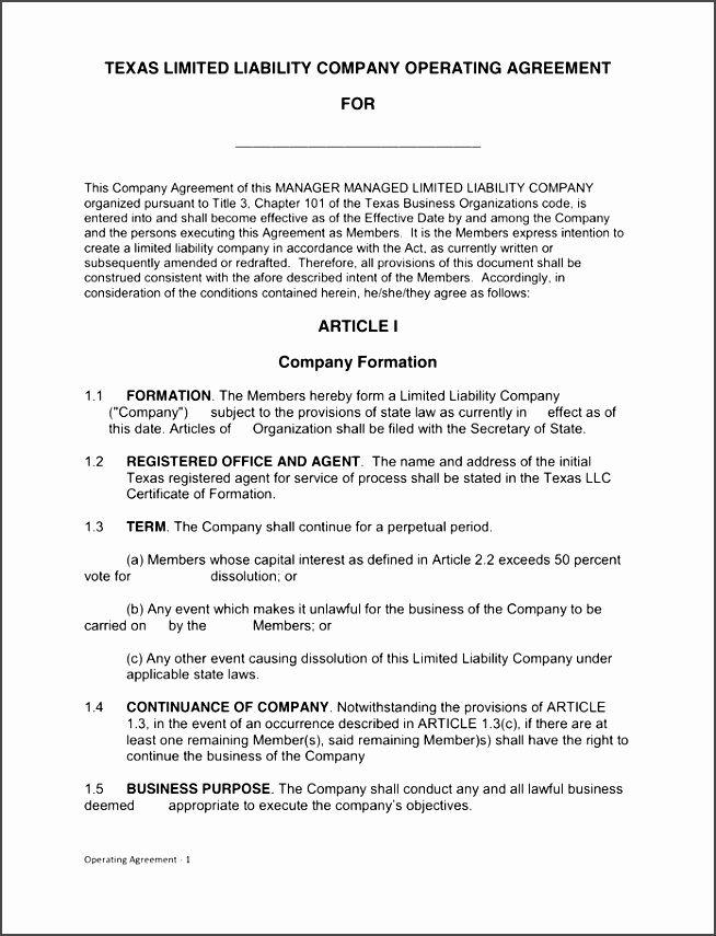 Texas Llc Operating Agreement Template Deeql Unique Texas Llc