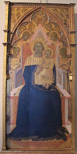 Bartolomeo Bulgarini (Ugolino Lorenzetti?) - Madonna col bambino e due angeli (da s. m. della scala) - Pinacoteca Nazionale, Siena
