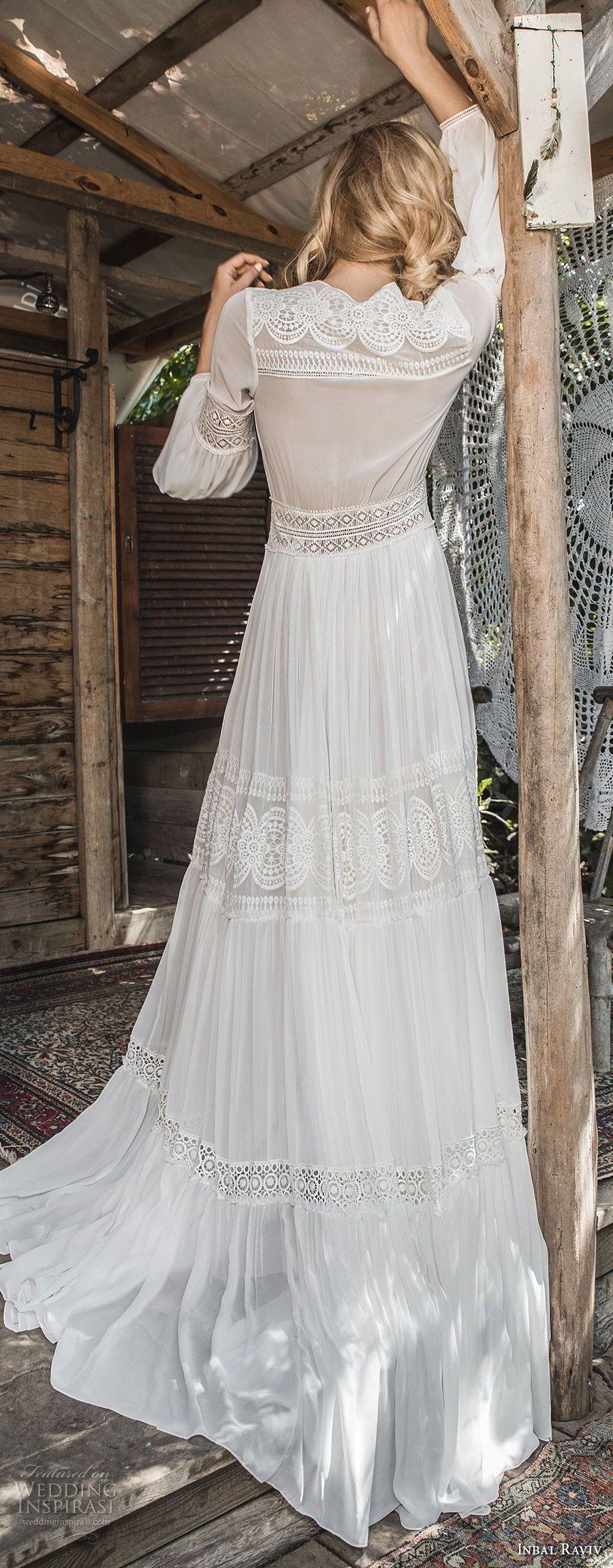 Inbal raviv bridal long sleeves deep v neck full lace