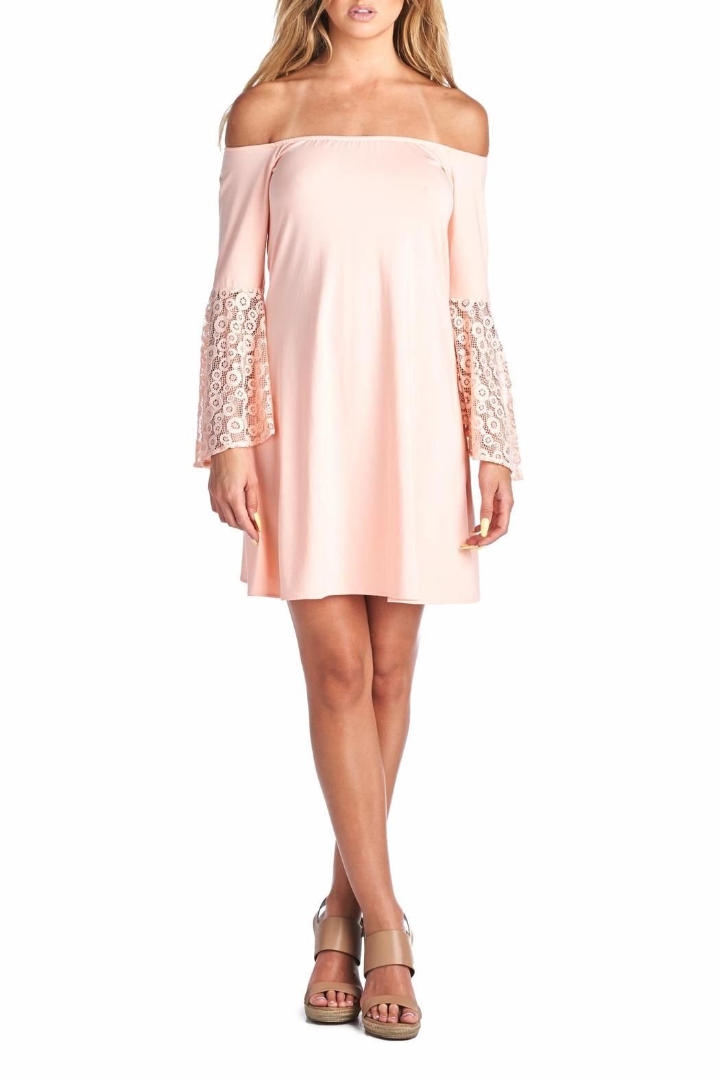 Off the shoulder solid tunic top or dress with lace sleeve detailing. Stretchy rayon fabric.   Laura Dress by Racine. Clothing - Dresses - Off The Shoulder California