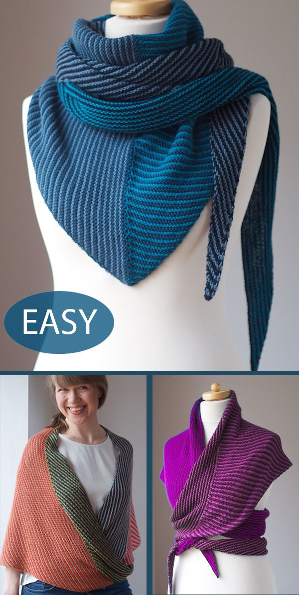 Easy Knitting Pattern for Corners, Edges, Stripes Shawl in Garter Stitch