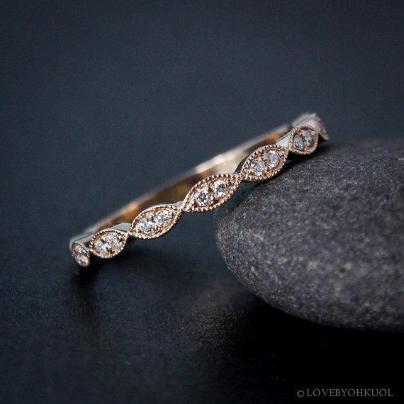 Rose Gold Wedding Band - Double Diamond Milgrain Leaf Wedding Band - Boho Bride #vintagewatches
