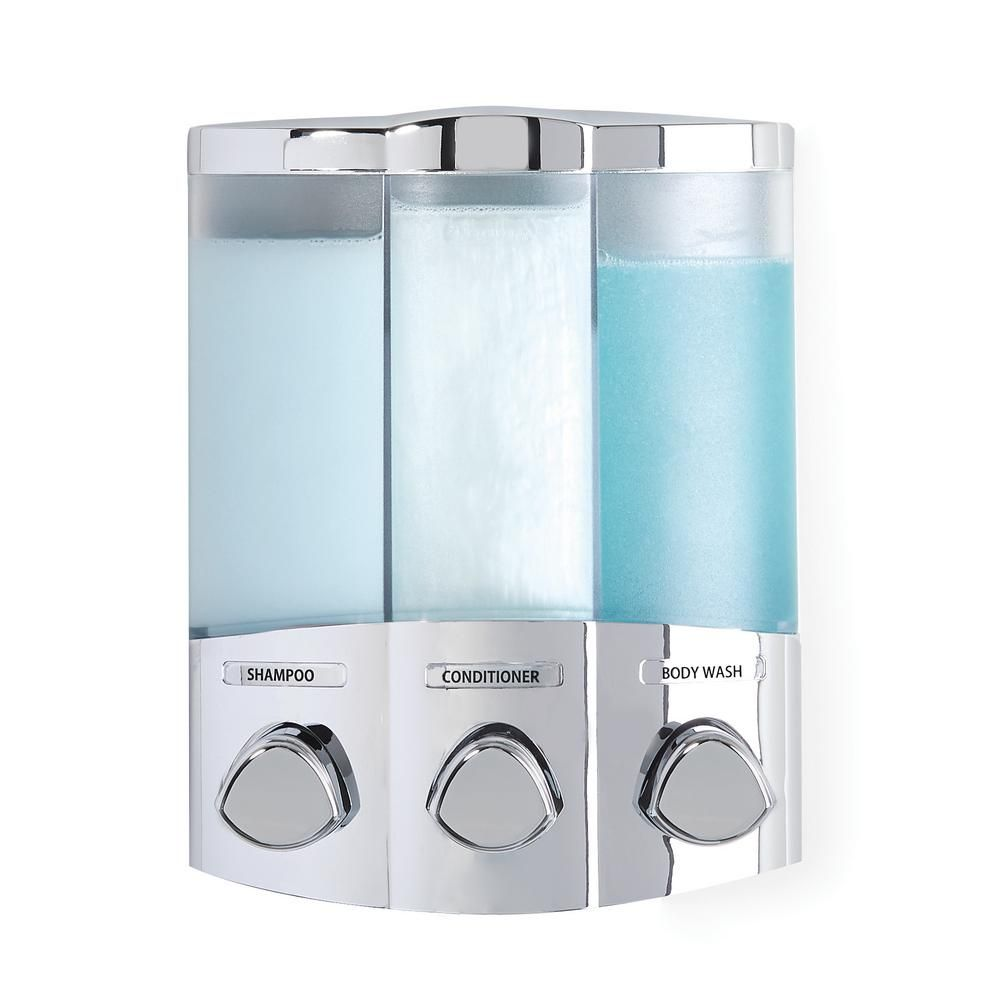 Better Living Trio Dispenser In Chrome 76344 1 The Home Depot Bathroom Gadgets Shower Accessories Kitchen Gadgets Organization